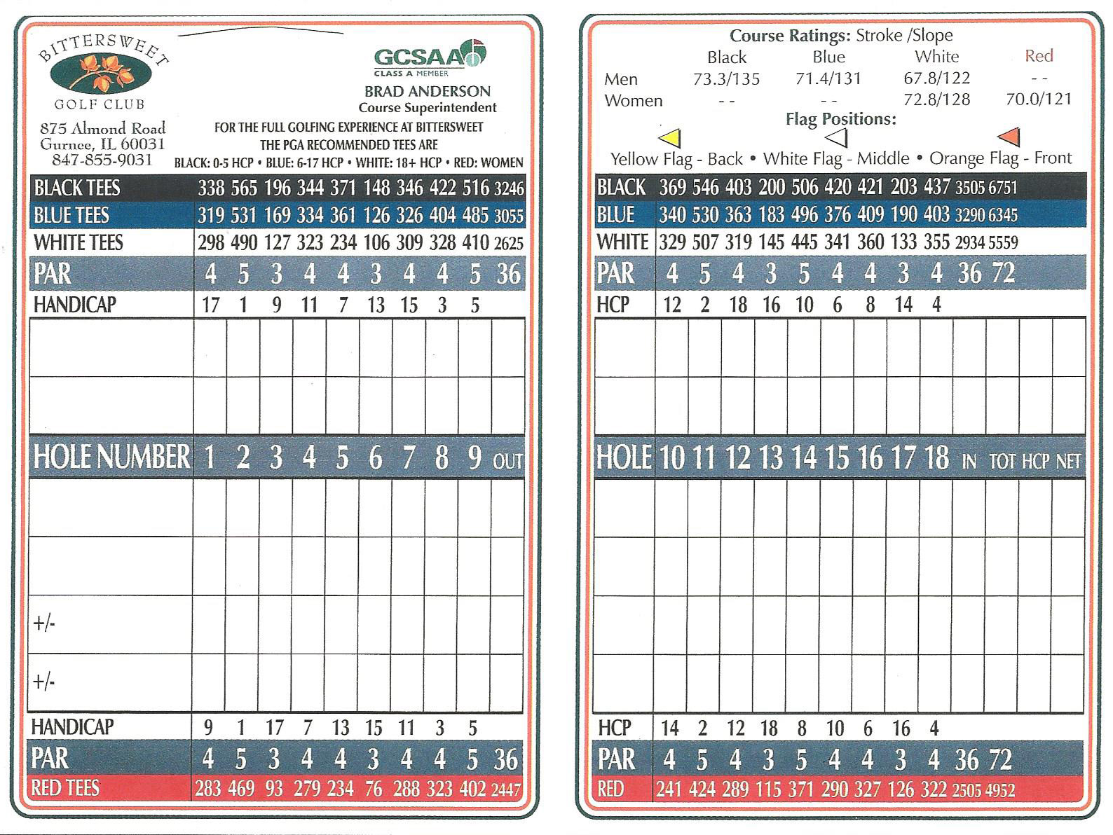 Bittersweet Golf Club scorecard
